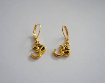 Gold Ohm Earrings, Lever Back Hooks, Gold Plated Earring Hooks