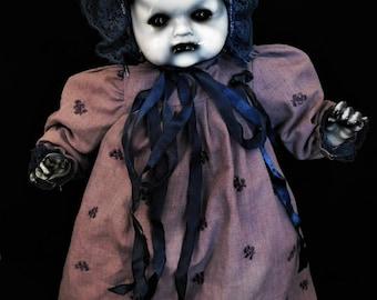"Nerezza 16"" OOAK Porcelain Horror Doll with Music Box"