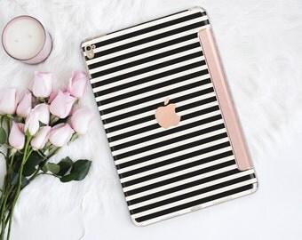 Platinum Edition Black Stripes with Rose Gold Smart Cover Hard Case for iPad Air 2, iPad mini 4 , iPad Pro , New iPad 9.7 2017