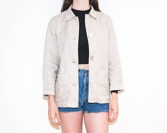 90s sand beige chambray chore jacket / lightweight woven linen button-up / size M