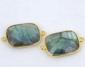Natural Labradorite, Bezel Octagon Shape Connector 15x20mm Octagon 24K Gold Plated, Double Bail 1pc GemMartUSA (LB-10144)