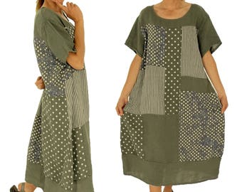 IA700OL ladies dress patchwork linen long tunic vintage short sleeve oversize olive Gr. 44 46 48 50
