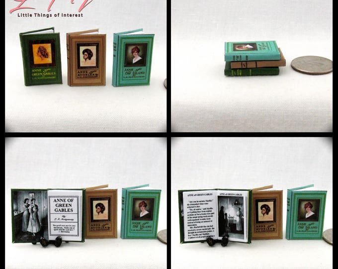 ANNE Of GREEN GABLES Set (3) Miniature Dollhouse Book Set 1:12 Scale Montgomery Anne of the Island Anne of Avonlea