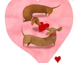Wiener dog love- pack of 5 cards