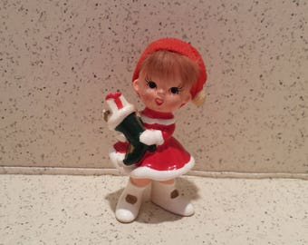 Red Headed Elf with Stocking