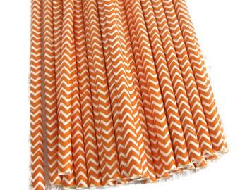 Orange Paper Straws 25 Count | Orange Chevron Paper Straws | Orange and White Chevron Straws | Orange and White Paper Straws | Fall Straws