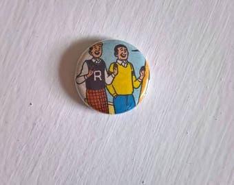 Bosom Buddies Vintage Pinback Button -- Retro Archie & Friends Badge --- Americana Comic Book Cool Fun Accessory Lapel Pin Stocking Stuffer