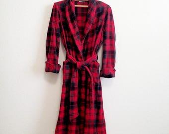 Plaid Flannel Wool Robe Small Medium ENGLAND