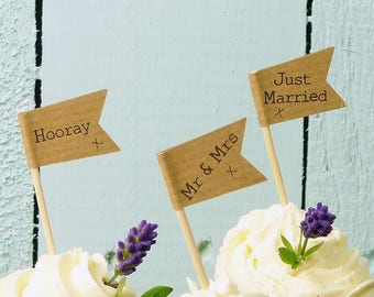 50 personalised cupcake toppers brown craft Mr & Mrs cake flags wedding cupcake decorations