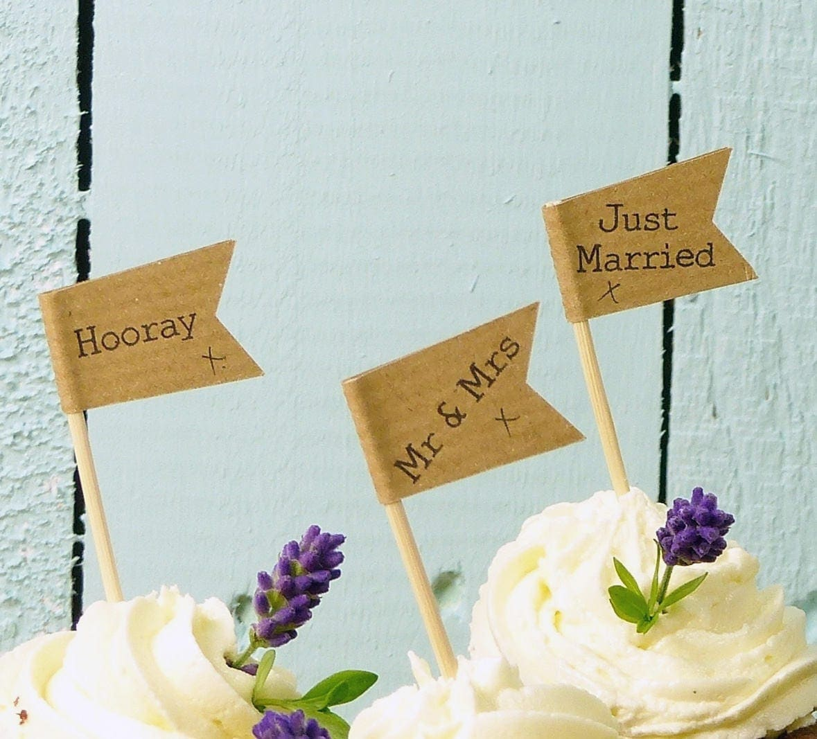 50 Personalised Cupcake Toppers Brown Craft Mr Mrs Cake Flags