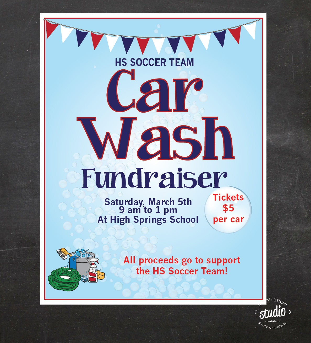 Car Wash Fundraiser Flyer School Flyer Church Flyer Sport