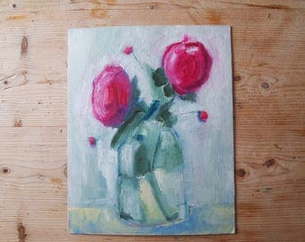 Roses in a Glass Vase Pink Floral Flowers Red Buds Green Leaves Painterly Still Life Small Oil Painting on Card Original Artwork Art