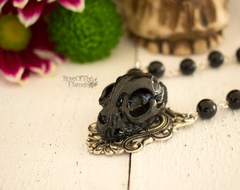 Cat skull necklace. Cat necklace. Goth necklace. Gothic necklace. Skull jewelry. Cat jewelry. Goth jewelry. Gothic jewelry. Wicca necklace