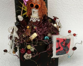 Emerging Creativity Art Doll Soft Sculpture Doll Jack in the Box Assemblage Salvage Art Celebrate Doll Celebrate Life Recycled Art Upcycled