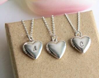 Heart Locket Necklace, Personalized Locket, Initial Locket, Silver Heart Locket, Initial Necklace, Personalized Necklace, Heart Necklace
