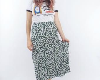 Vintage 90s Daisy Print High-Waist Maxi Skirt