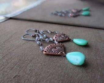 Bohemian earrings Chrysoprase earrings Boho earrings Long earrings Boho chic jewelry Long dangle earrings Mint green stone Copper jewelry
