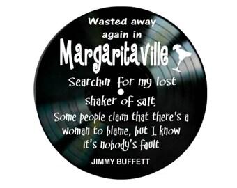 Margaritaville by Jimmy Buffett song lyrics vinyl on vinyl record music lyric art song lyric art vinyl record music lover gift