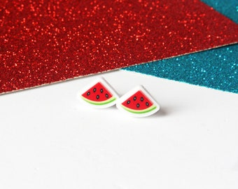Watermelon stud earrings, cute earrings, fruit earrings, girls earrings, watermelon, acrylic earrings, watermelon jewellery