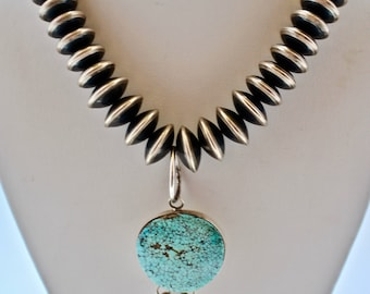 Number 8 Turquoise Figural Pendant with Navajo Pearls