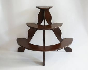 Wood Plant Stand, Half Circle, 3 Tier Plant Holder, Greenhouse Supply, Patio Porch Deck Indoor Plant Holder, Garden Clay Flower Pot Support
