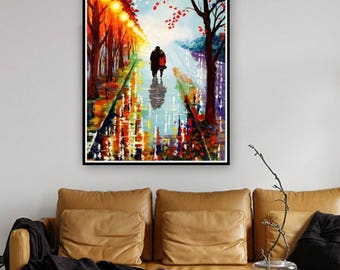 Original Abstract Painting Acrylic-A Couple on a Walk-Acrylic Contemporary Art-Rainy Landscape-Colorful Abstract Palette Knife-Made to Order