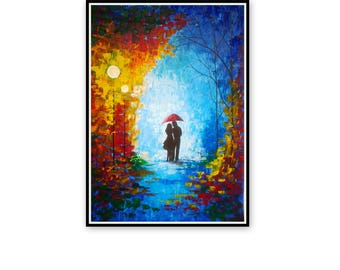 Large Original Oil Painting - Couple With Umbrella - Night Scene - Palette Knife - Colorful Umbrella Canvas Painting - Contemporary Fine Art