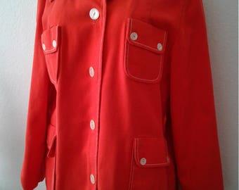 Vintage 1960s/70s Mod Orange Coat Jacket Fully Lined