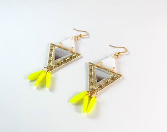 Neon Yellow Mirror Gold Earrings