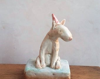 Little art sculpture, air dry clay animal figure.