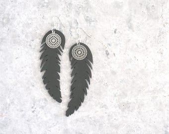 Long Feather Earrings, Boho Leather Earrings with Charm, Gift for Girlfriend, Australian Seller, Grey Earrings, Eco Friendly Jewelry