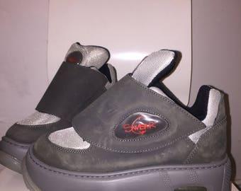 SWEAR EU 39 RARE velcro platform sneakers dark gray leather nylon rave club kid boots 90s