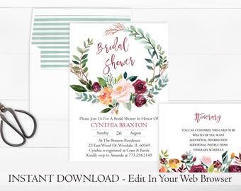 Printable Wreath Bridal Shower Invitation Template   Rustic Bridal Shower Invitation   Instant Download   Fall Bridal Shower Invite   PDF
