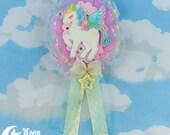 Verträumte geflügelte Einhorn   Rosette   Brosche und Haarspange   Sweet Lolita Mode   Fee-kei