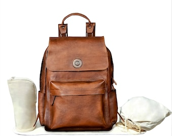 Genuine Leather Backpack Baby Diaper Bag, Insulated Baby Bottle Holder, Changing Mat, Diaper Drawstring Bag