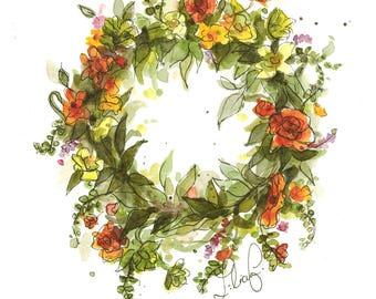 Summer Wreath (original watercolor)