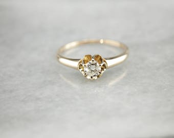 Antique Buttercup Diamond Ring, Vintage Diamond Solitaire, Vintage Diamond Engagement Ring H78XF4-P