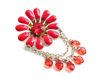 Red  Metal Flower Pin / Goldtone Enamel Brooch/ Hippie Era Flower Power Pin/Orange Lucite Heart Dangles Pin/ Acrylic Rhinestone Pin