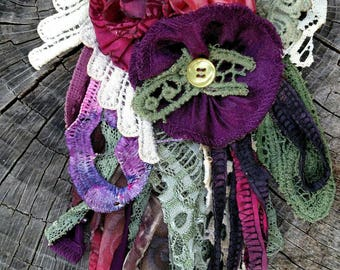 BERRY MEDLEY-Vintage Upcycled Fabric Flower Pin/Brooch/Corsage-Yesteryear Collection