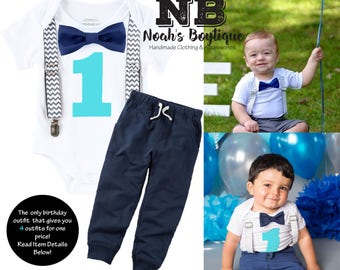 Cake Smash Outfit Boy Grey Navy Aqua - Chevron - Navy Pants - Boys First Birthday Outfit - Set - Suspenders Bow Tie - Photo Prop - 1st