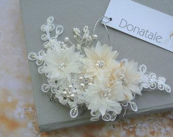 Wedding Hair piece, Bridal Headpiece , Wedding Hair Comb, Beaded Lace Headpiece, Ivory  Champagne, Wedding Accessories  -RAFAELLA UK