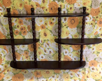 Tiered Spindle Wood Wall Curio Rounded Shelf Unit