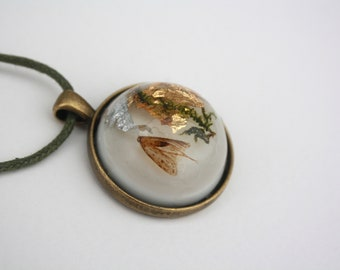 naturally deceased British moth moss gold and silver leaf brass necklace oddities tiny insect in resin