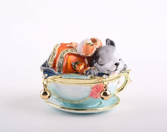 Rat on Tea Pot Trinket Box Decorated with Swarovski Crystals by Keren Kopal Enamel Painted Decorated with Swarovski Crystals