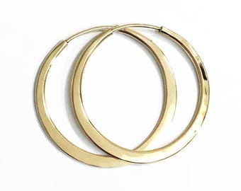 Solid 14k Gold Hoops - Self-locking - Continuous Endless Design Hoop