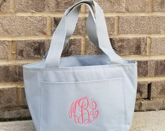 Monogrammed Lunch Bag-Girls Lunch Box-Monogrammed Lunch Box-Gray Lunch Box-Insulated Lunch Box-Group Discount-Bridesmaid-SHIPPING INCLUDED