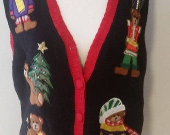 large bear ugly Christmas sweater vest