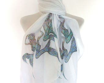 Mermaid scarf. White scarf with turquoise Mermaid print. Boho scarves.