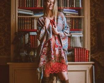 Red and blue fringe paisley kimono - Hippie boho festival bridal kimono - gypsy kimono - aztec print kimono