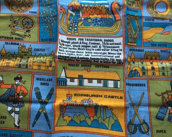"Vintage 1970s Souvenir Linen Towel // 30.5x19.5"" > Scottish Panorama by Pat Chambers- illustrated, Haggis recipe, Viking, piper > Unused"